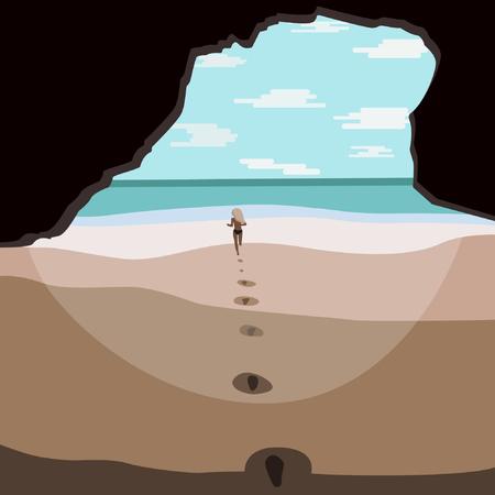Hidden beach cave running girl Stock Illustratie