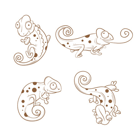 reptiles: Cartoon cute chameleons set. Four reptiles in different poses. Funny animals. Childrens illustration. Transparent background. Illustration