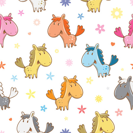 Seamless pattern with cute cartoon horses and flowers on  white background. Funny animals. 矢量图像