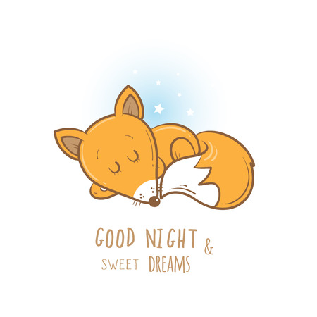 bedtime: Card with cute cartoon sleeping fox. Little funny animal. Bedtime. Childrens illustration. Vector image.