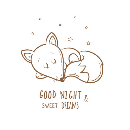 bedtime: Card with cute cartoon sleeping fox. Little funny animal. Bedtime. Childrens illustration.