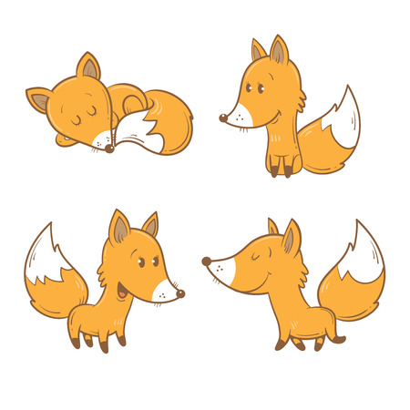 cartoon forest: Cute cartoon foxes set. Funny forest animals. Four foxes  in different poses. Childrens illustration. Illustration