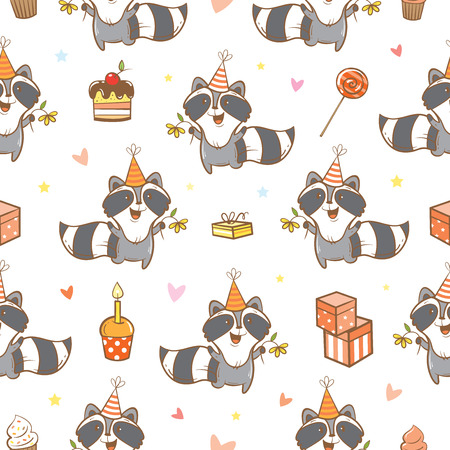 raccoons: Seamless pattern with cute cartoon raccoons  on  white  background. Funny forest animals. Birthday gifts, sweets and party hats. Illustration