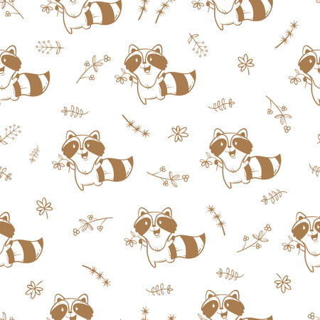 raccoons: Seamless pattern with cute cartoon raccoons,  plants and flowers on white  background. Funny forest animals.