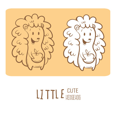 Card with cute cartoon hedgehog and apple. Little funny animal. Childrens illustration. Two variants contour image, transparent background and white fill.
