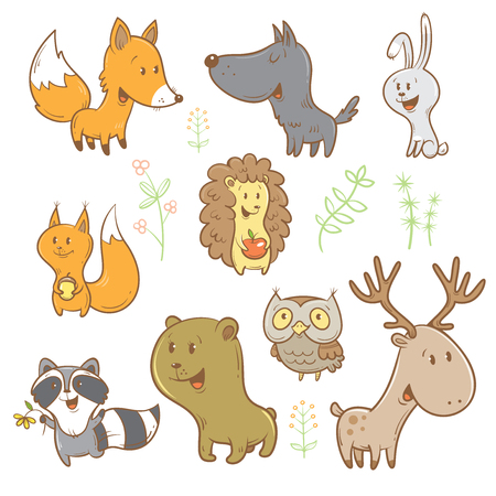 cartoon kid: Cute cartoon forest animals set. Funny fox, wolf, squirrel, hare, raccoon, owl and deer. Different plants. image. Childrens illustration.
