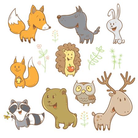 Conjunto de animales de dibujos animados lindo forestales. Divertido zorro, lobo, ardilla, liebre, mapache, búho y ciervos. Diferentes plantas. imagen. ejemplo de los niños.