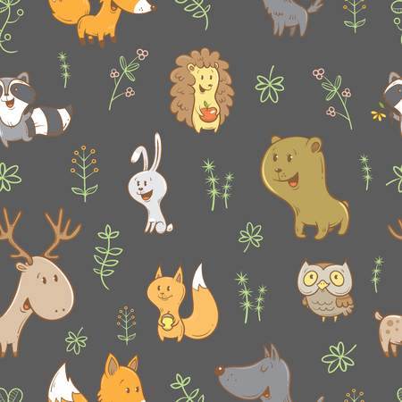 Seamless pattern with cute cartoon foxes, squirrels, wolves, bears, raccoons, owls, deer, and rabbits on  gray background. Different plants. image. Funny forest animals. Childrens illustration.