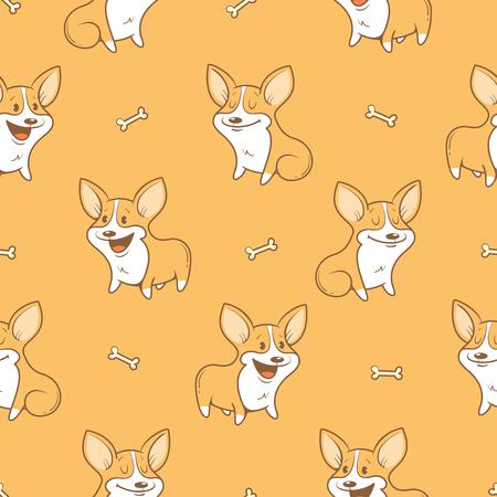 perros graciosos: Patrón sin fisuras con la historieta linda perros de raza Corgi Pembroke Welsh sobre fondo naranja. Cachorros y los huesos. ejemplo de los niños. imagen. Animales divertidos.