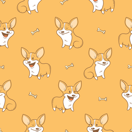 Seamless pattern with cute cartoon dogs breed Welsh Corgi Pembroke on  orange background. Little puppies and bones. Children's illustration. image. Funny animals.