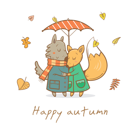 Card with cute cartoon wolf and fox in love. Funny animals under  umbrella. Autumn time. Falling leaves. Rainy weather. Childrens illustration. Vector image.