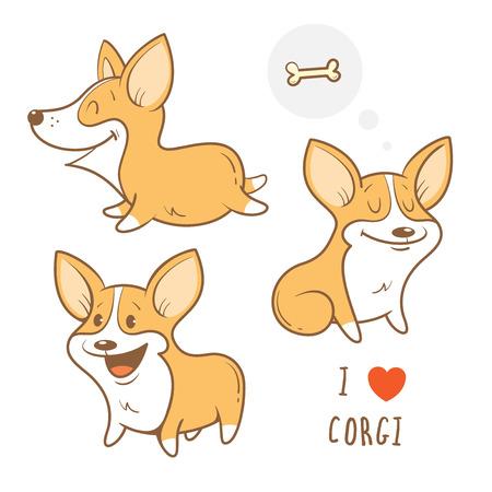 Cute cartoon dogs  breed Welsh Corgi Pembroke set. Childrens illustration. Three little puppy.  Funny baby animal. Vector image.