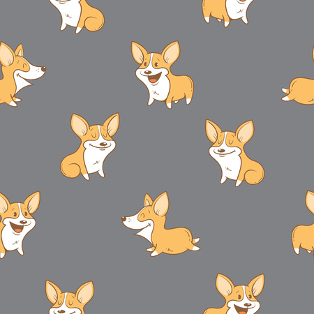 pembroke: Seamless pattern with cute cartoon dogs breed Welsh Corgi Pembroke on gray  background. Little puppies.  Childrens illustration. Vector image. Funny animals.