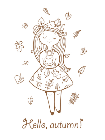 no image: Postcard with cute cartoon  girl in  beautiful dress and bunny. Autumn season. Falling leaves. Childrens illustration. Vector contour image no fill.