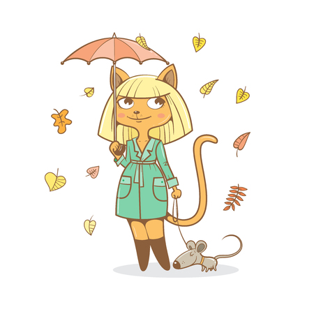 Postcard with cute cartoon  cat girl in  coat  under  umbrella and mouse. Autumn season. Rainy weather.  Falling leaves. Childrens illustration. Vector image.