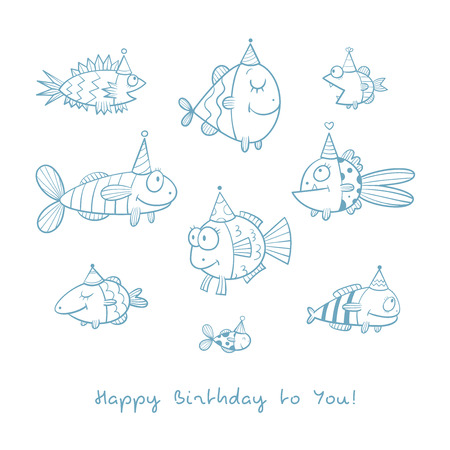 fill fill in: Birthday card with cute cartoon fishes in party hats. Underwater life. Funny sea animals. Childrens illustration. Vector contour image no fill. Doodle style.