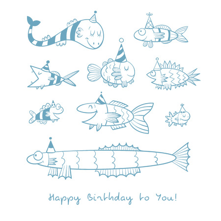 childrens birthday party: Birthday card with cute cartoon fishes in party hats. Underwater life. Funny sea animals. Childrens illustration. Vector contour image no fill. Doodle style.