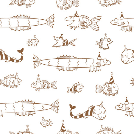 childrens birthday party: Birthday seamless pattern with cute cartoon fishes  in party hat  on  white background. Underwater life. Funny sea animals. Childrens illustration. Vector contour image.