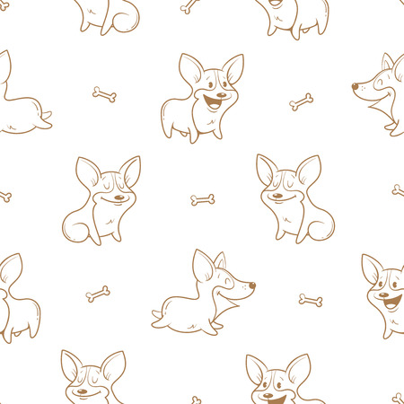 Seamless pattern with cute cartoon dogs breed Welsh Corgi Pembroke on white  background. Little puppies and bones. Children's illustration. Vector contour image. Funny animals.
