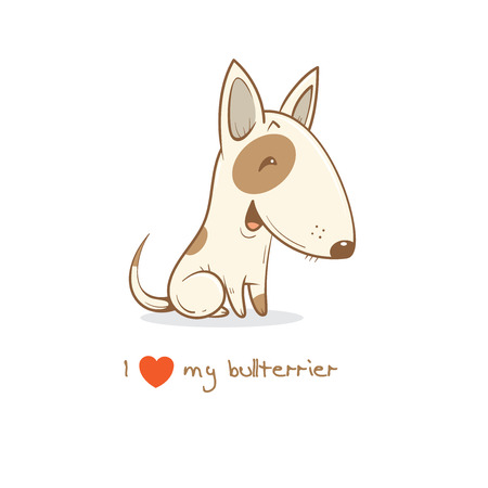 Card with cute cartoon dog breed  bullterrier. Childrens illustration. Little puppy. Funny baby animal. Vector image. Illustration