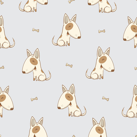 perros graciosos: Modelo inconsútil con los perros lindos historieta de la raza bullterrier sobre fondo gris. Cachorros y los huesos. ejemplo de los niños. Imagen del vector. Animales divertidos. Vectores