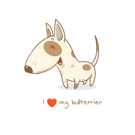 Card with cute cartoon dog breed  bull terrier. Childrens illustration. Little puppy. Funny baby animal. Vector image.