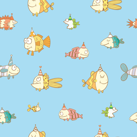 childrens birthday party: Birthday seamless pattern with cute cartoon colorful fishes  in party hat  on  blue  baclkground. Underwater life. Funny sea animals. Childrens illustration. Vector image.