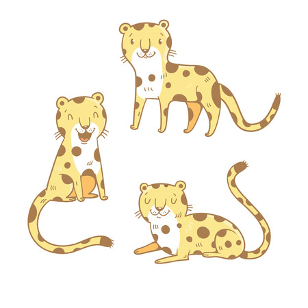 cheetah cub: Cute cartoon leopards set. Three little wild kitten. Funny african animals. Childrens illustration. Collection for kids. Vector image.
