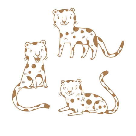 Cute cartoon leopards set. Three little wild kitten. Funny african animals. Childrens illustration. Collection for kids. Vector contour image no fill. Illustration