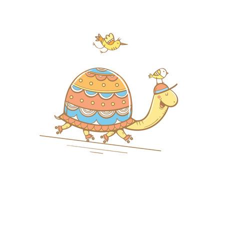 deportes caricatura: Tarjeta con la tortuga linda de la historieta en patines y aves. paseo deporte. ejemplo de los niños. Animales divertidos. Vector colorido de la imagen.