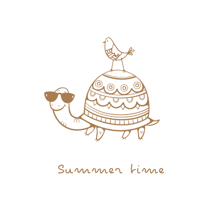 Card with cute cartoon  turtle in sunglasses  and bird. Summer time. Childrens illustration. Funny animals. Vector contour image no fill.