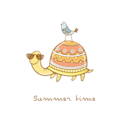 Card with cute cartoon  turtle in sunglasses  and bird. Summer time. Childrens illustration. Funny animals. Vector colorful  image.