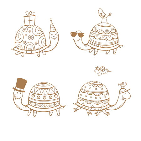 Cartoon turtles set. Four cute tortoises. Funny animals. Party hat, roller skates and sunglasses. Little birds. Vector contour image no fill.