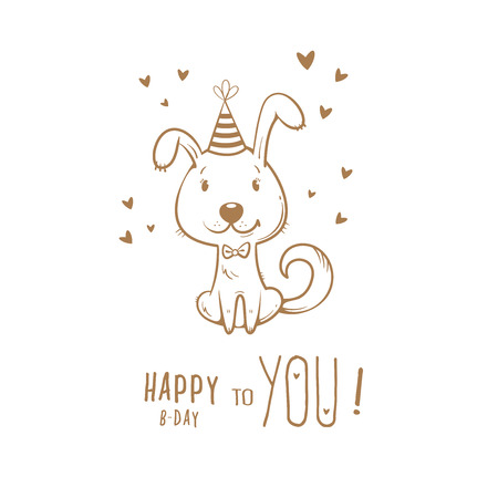 Birthday card  with cute cartoon dog in  party hat. Vector contour  image no fill. Little puppy. Funny animal. Illustration
