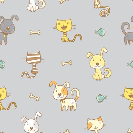 Modelo inconsútil con los perros y los gatos lindos de la historieta en el fondo gris. Cachorros y kitens con los huesos y los peces. ejemplo de los niños. Imagen del vector. Animales divertidos. Ilustración de vector