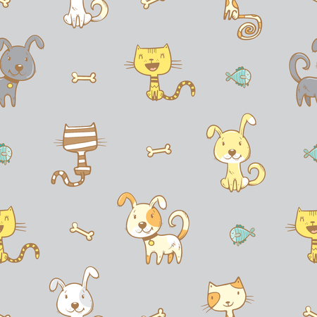 Seamless pattern with cute cartoon dogs and cats on gray background. Little puppies and kitens with bones and fishes. Children's illustration. Vector image. Funny animals.