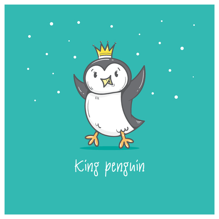 rey caricatura: Card with cute cartoon king penguin. Winter time. Little Antarctic bird. Funny animal. Vector contour image. Childrens illustration.