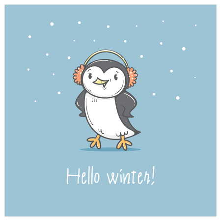 animal time: Card with cute cartoon  penguin in earmuffs. Winter time. Little Antarctic bird. Funny animal. Vector contour image. Childrens illustration.