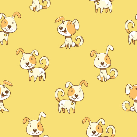 Seamless pattern with  cartoon dogs  on  yellow  background. Little cute puppies. Childrens illustration. Vector image. Funny animals.