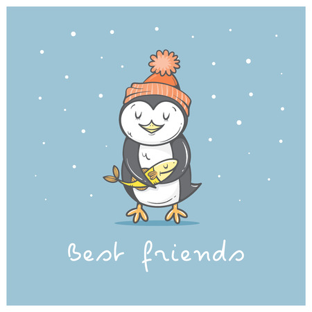 animal time: Card with cute cartoon  penguin in hat. Winter time. Little Antarctic bird and fish. Funny animal. Best friends. Contour image. Childrens illustration.