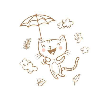 Cute cartoon cat under an umbrella. Flying kitten. Autumn season. Windy weather and falling leaves. Funny animal. Vector contour  image no fill. Childrens illustration.