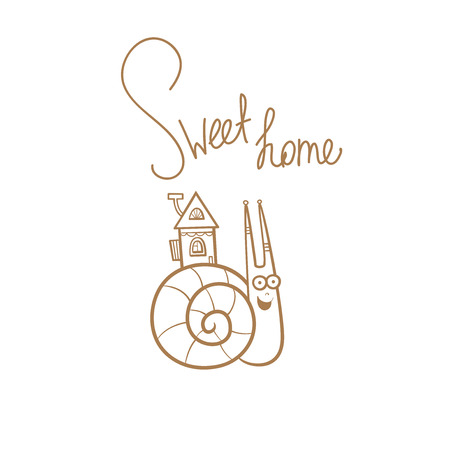 Cartoon funny snail.  Hand drawn vector contour  image no fill. Sweet home.