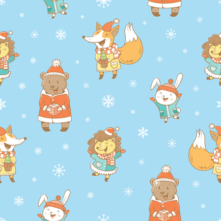 hares: Christmas seamless pattern with cute cartoon hares, hedgehogs, foxes  in coat and snowflakes on blue  background. Winter  holiday. Snowy weather. Funny animals in clothes. Vector image. Childrens illustration. Illustration