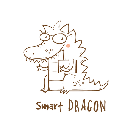 Card with cute cartoon dragon in glasses. Illustration