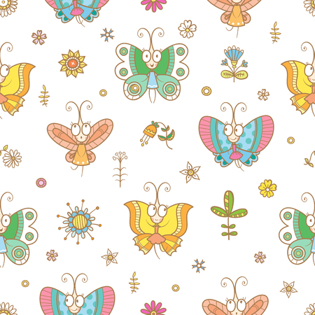 Seamless pattern with cute cartoon butterflies in dresses on white background. Funny anumals, flowers and plants. Vector contour  image. Çizim