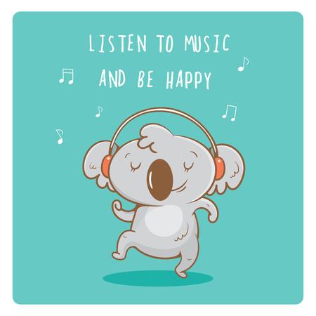 Postcard with cute cartoon koalas  listening to music in earphones. Vector contour  image. Little funny baby animal. Children's illustration. Illustration