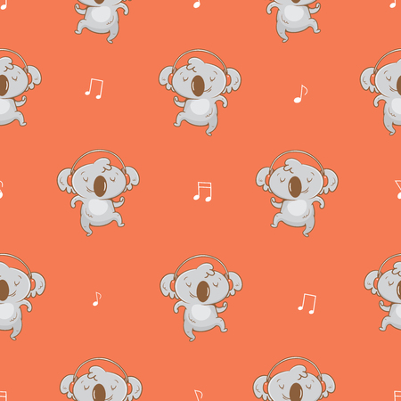 Seamless pattern  with cute cartoon koalas  listening to music in earphones on red background. Vector contour  image. Little funny baby animal. Childrens illustration.