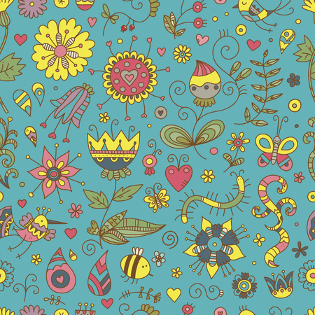 Seamless pattern with cute cartoon insects and birds on blue  background. Colorful flowers and plants of summer time. Vector contour doodle style image.  Illustration