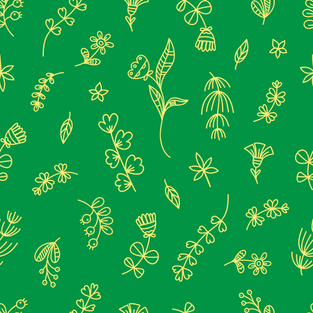 Summer seamless pattern with flowers and plants on green  background.  Vector contour doodle style image.