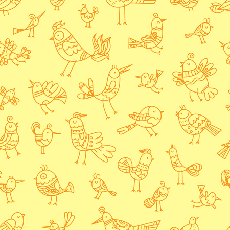 Seamless pattern with cute cartoon birds on yellow background. Vector contour image. Doodle style.